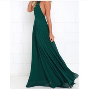 Lulu's gorgeous green backless gown